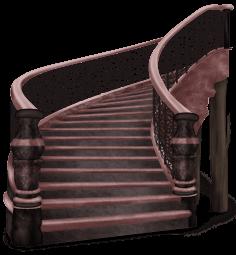 Dunkle Schlosstreppe